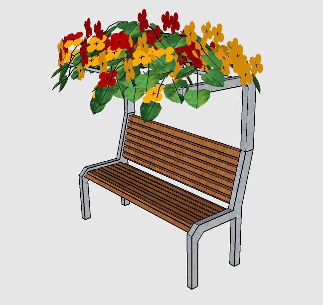 3D bench with a canopy